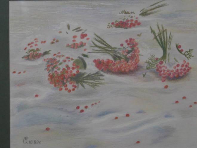 Калина на снегу(С акварели С.Н.Андрияки). Работа выполнена в смешанной технике на бумаге(цв.карандаш, гуашь), в жанре Пейзаж, размером 29х40.