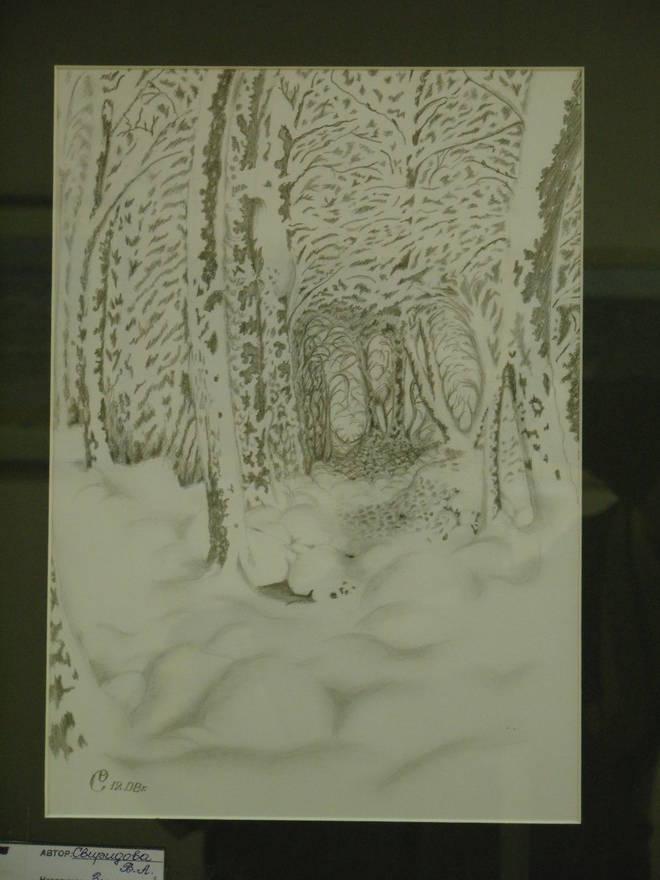 Зимняя сказка. Фрагмент(С работы художника-графика Гурама). Работа выполнена простым, графитным карандашом на бумаге, в жанре Пейзаж,  размером 30х15.
