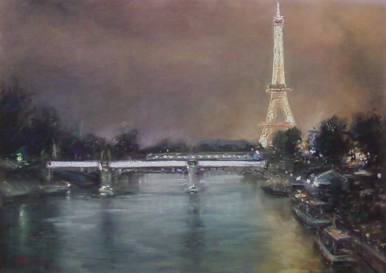 Вечер в Париже  бумага-пастель   50х65 см.  2013г.