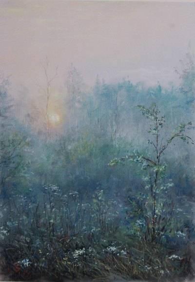 Утро.Туман.  бумага-пастель   65х50 см.  2014г.