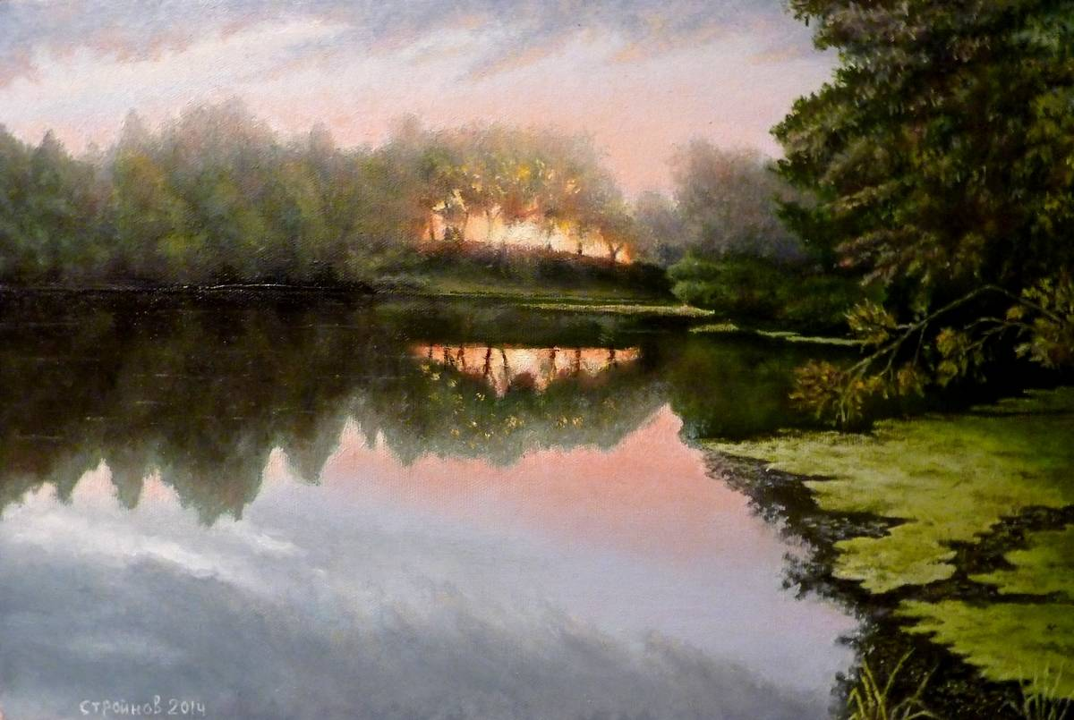 """ Рассвет на реке Уза."" холст, масло  40х60 см"
