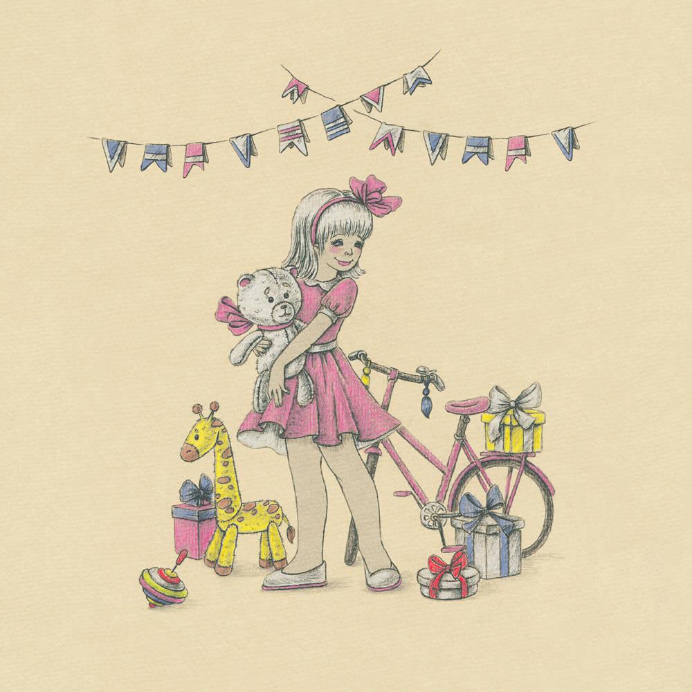 """Happy birthday honey (с днем рождения, милая). Иллюстрация для проекта Arti posti.  Так же работа принемала участие в конкурсе """"Назад в детство!"""" 2014 год"""