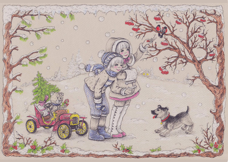 """Winter joy (зимняя радость). Работа принимала участие в международном творческом конкурсе: Новогодняя """"КАРТИНА-ОТКРЫТКА"""""""