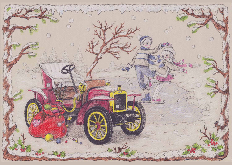 """Snow Waltz (снежный вальс). Работа принемала участие в международном творческом конкурсе: Новогодняя """"КАРТИНА-ОТКРЫТКА""""."""