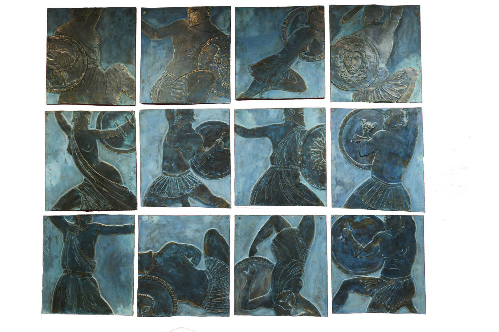 Amazonomachy / confrontation - a conflict situation, covering all major areas of life and finding resolution in the form of open aggression. Confrontation is active both ways. One of the most famous stories of confrontation - Amazonomachy: Battle of the Greek heroes (Bellerophon, Heracles, Theseus, Achilles, etc.) And the Amazons. Amazonomachy became a symbol of confrontation between male and female. A series of 12-and low, almost graphically reliefs in square skirtings, united in a composite composition. АМАЗОНОМАХИЯ/ПРОТИВОСТОЯНИЕ – конфликтная ситуация, охватывающая все основные жизненные сферы и находящая разрешение в форме открытой агрессии. Противостояние носит активный обоюдный характер. Одна из знаменитых историй противостояния – амазономахия: битва греческих героев (Беллерофонта, Геракла, Тесея, Ахилла и др.) и амазонок. Амазономахия стала символом противоборства мужского и женского начал. Серия из 12-и низких, почти графичных рельефов в квадратных плинтах, объединенных в сложносоставную композицию.
