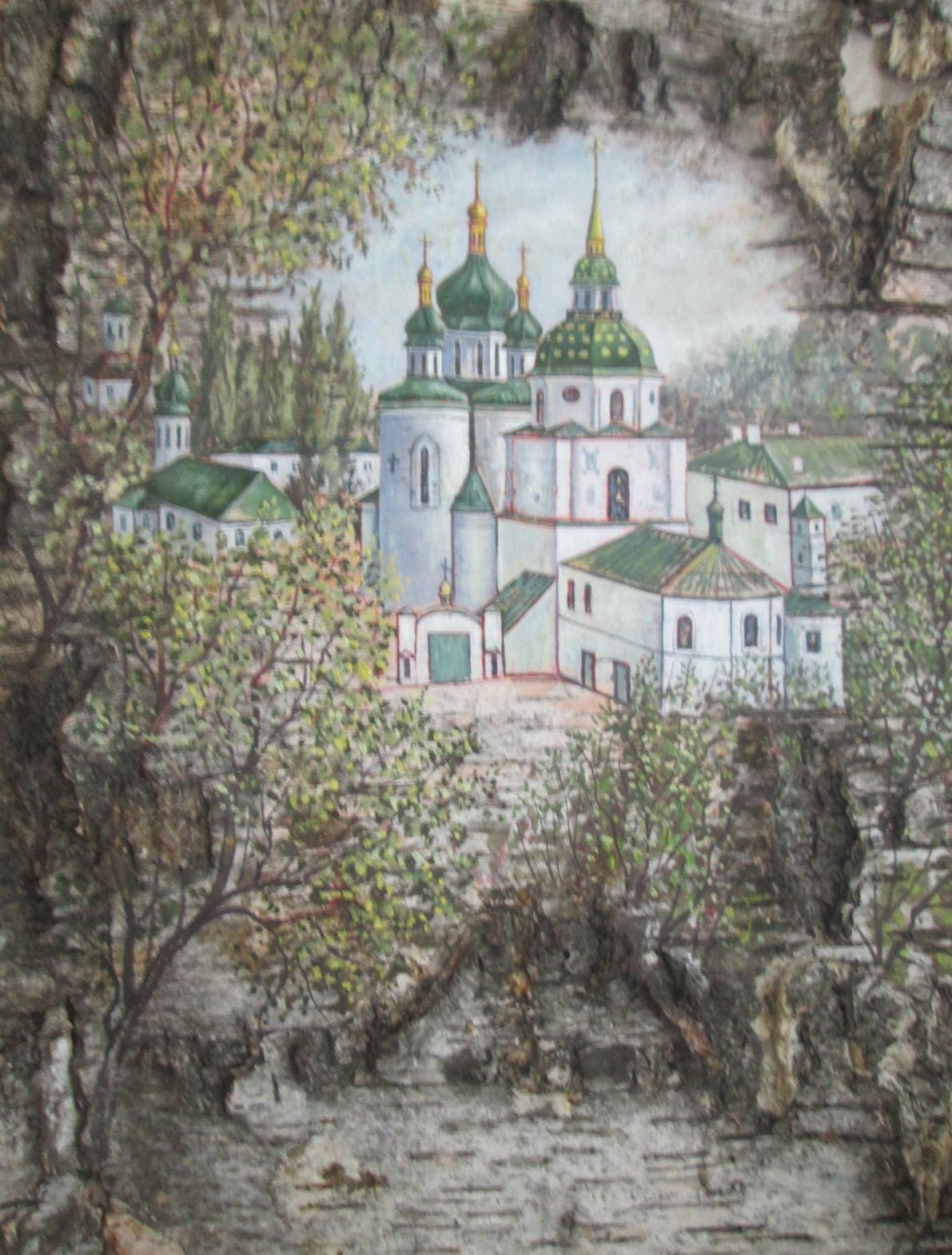 Киево-Выдобуцкий монастырь на бересте.