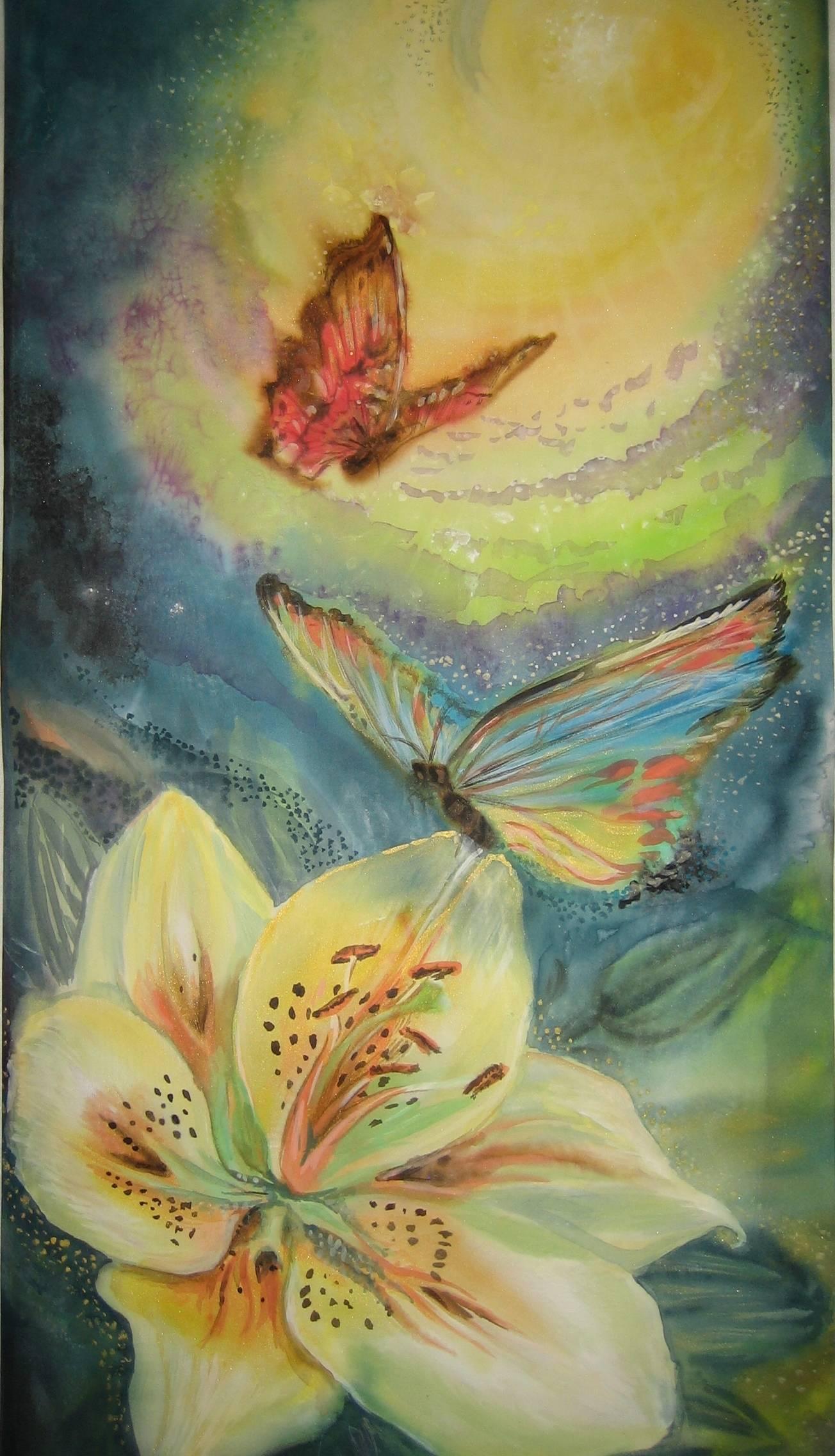 """Панно""""Лилия и бабочки""""30х60"""