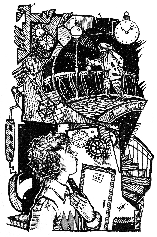 """""""Мгновения будущего"""" Иллюстрация. Тушь, перо."""