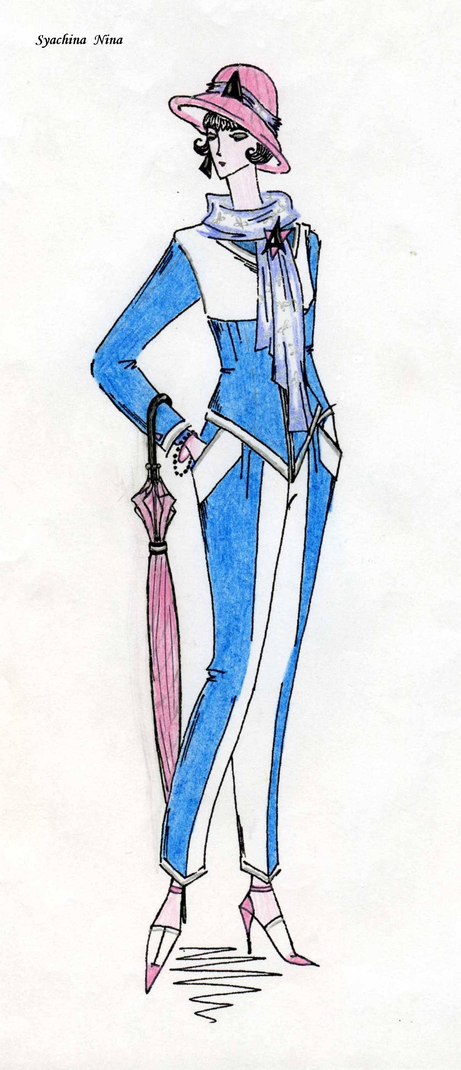 Мода (графика и цв.карандаши)