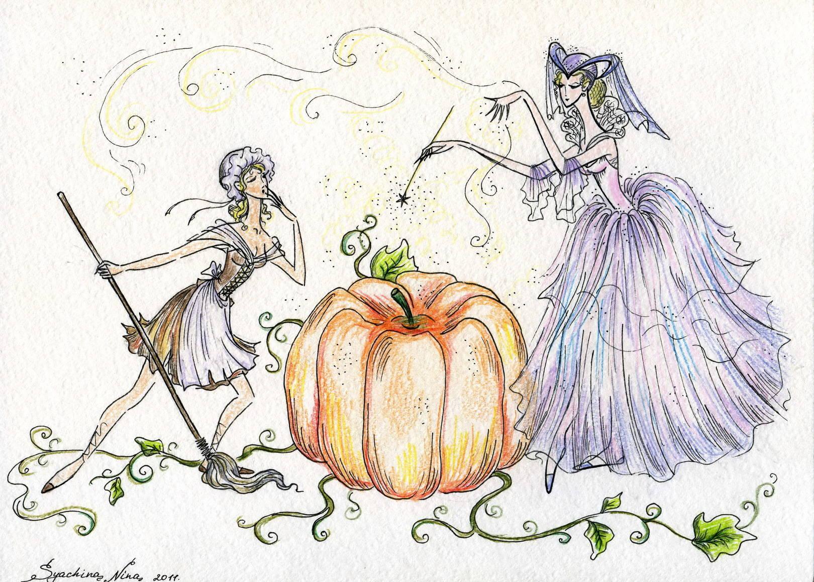 """одна из иллюстраций к сказке """"Золушка"""", в виде балета"""