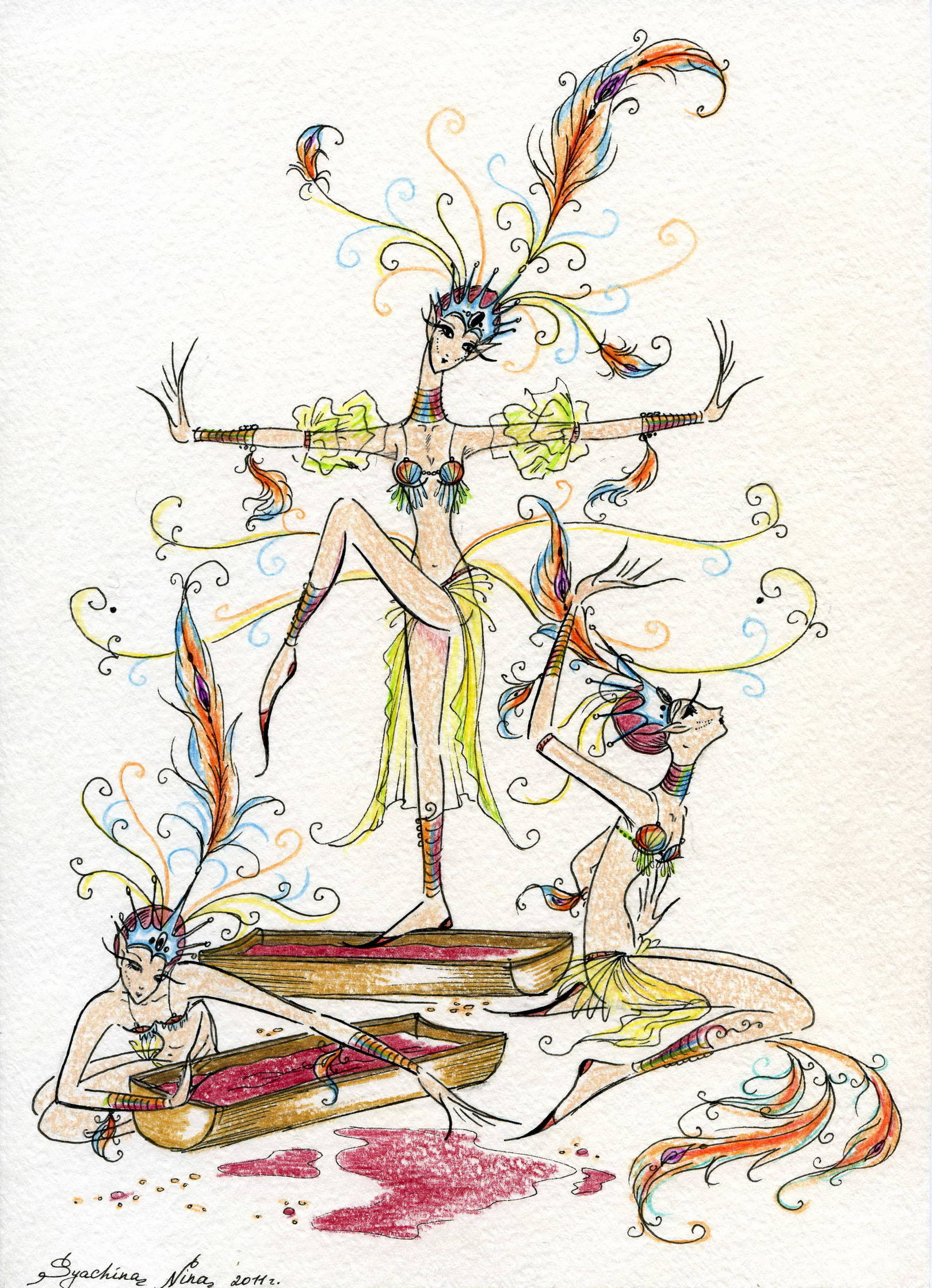 "иллюстрация к сказке Ершова ""Конёк-Горбунок"" (в виде балета, образ Жар-Птиц)"