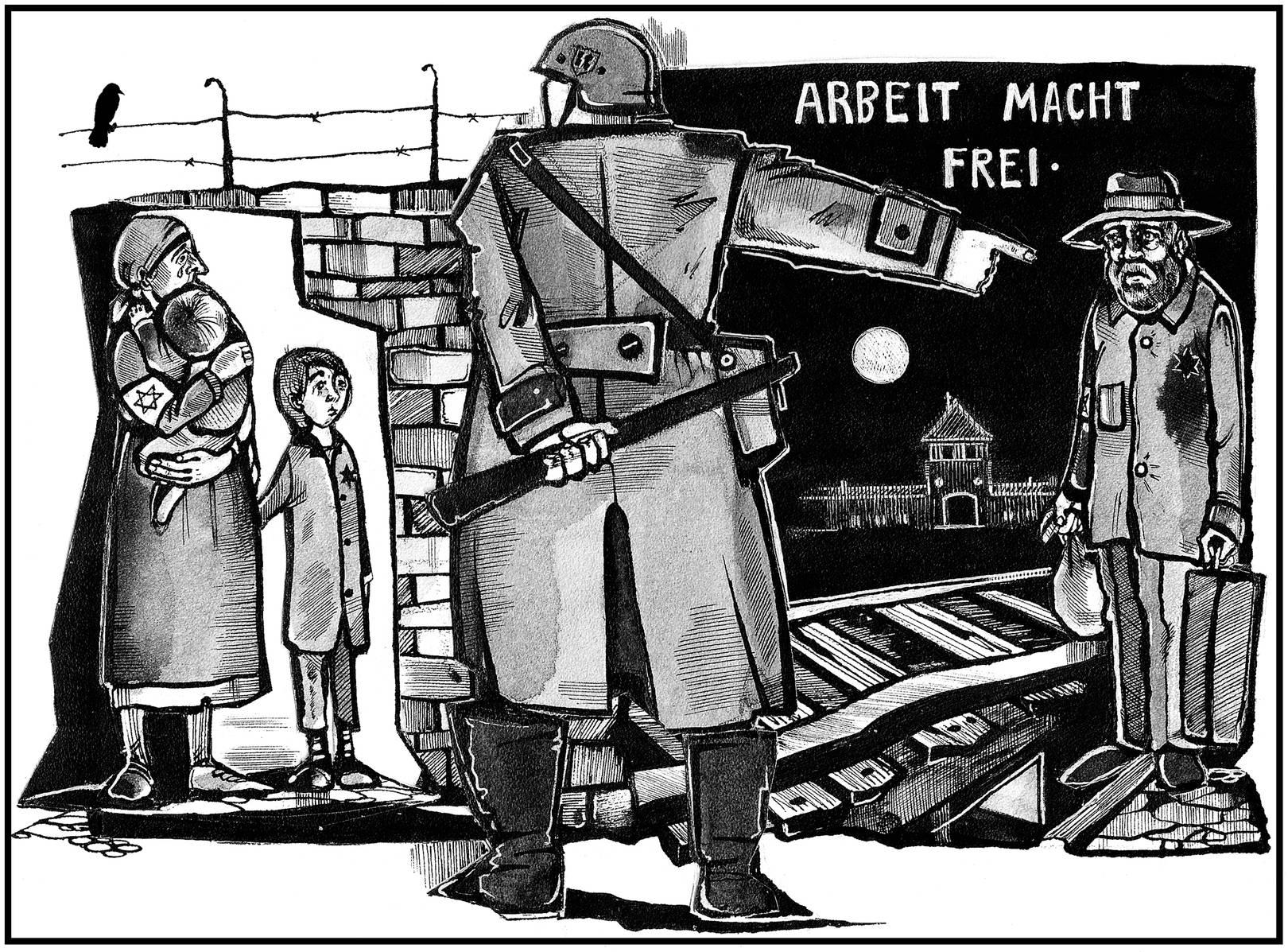 Гетто. К 70-летию освобождения Освенцима. Рисунок.Тушь, перо.
