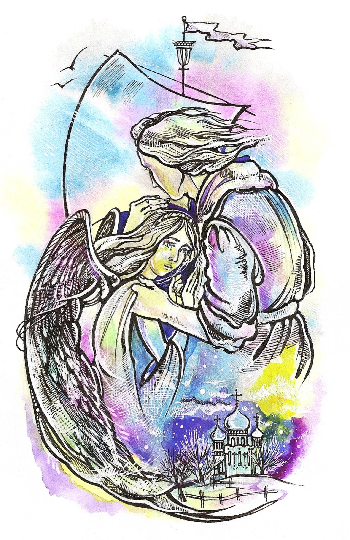 Беззащитная. Иллюстрация к стихотворению С.Мирзаева акварель, тушь.