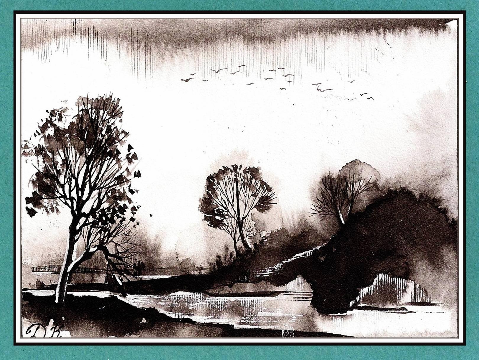 Осень. Тушь, перо. Иллюстрация
