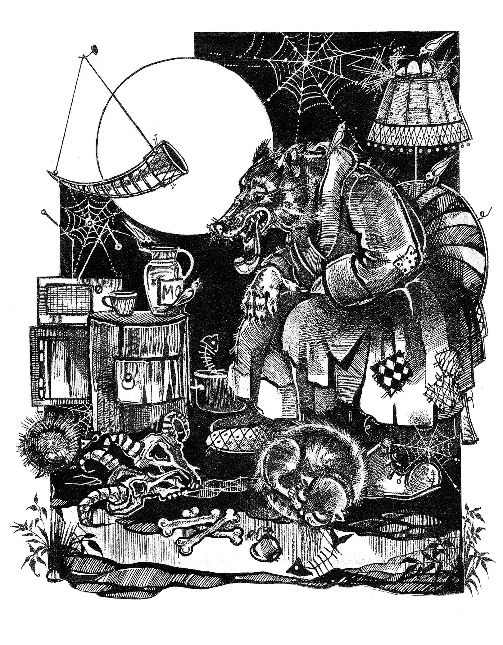 """""""В гостях у волка"""" иллюстрация к книге рассказов А.Краузе"""