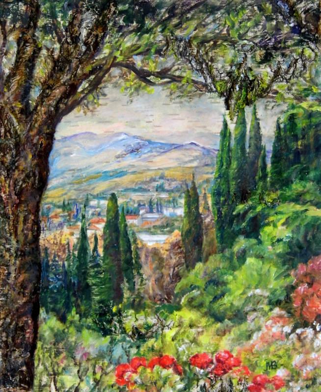 Cypresses.2014, oil on Birch Bark, 53.5 x 46 cm.