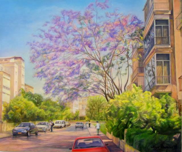 Jacaranda blossoms! (Tel Aviv).2014, oil on canvas, 50 x 60 cm.