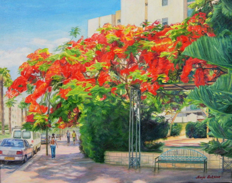 Летний день (Ашкелон).Summer's  day (Ashkelon).2014, oil on canvas, 40 x 50 cm.