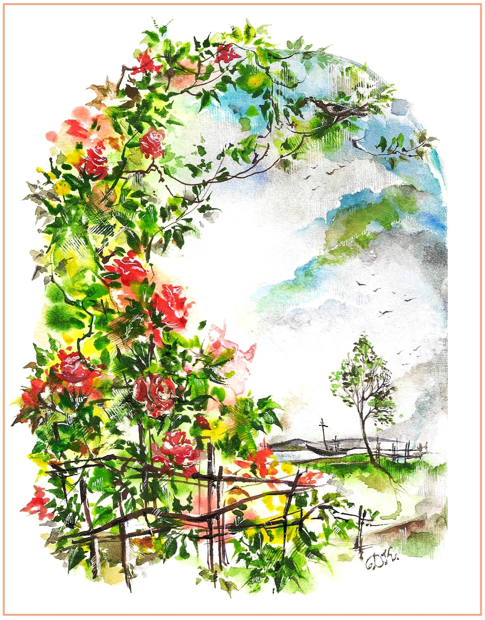 Проникновенные цветы...Иллюстрация к стихотворению С.Мирзаева. Акварель
