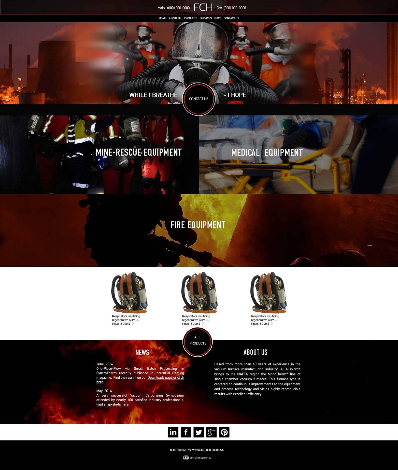 Дизайн сайта спасательного снаряжения