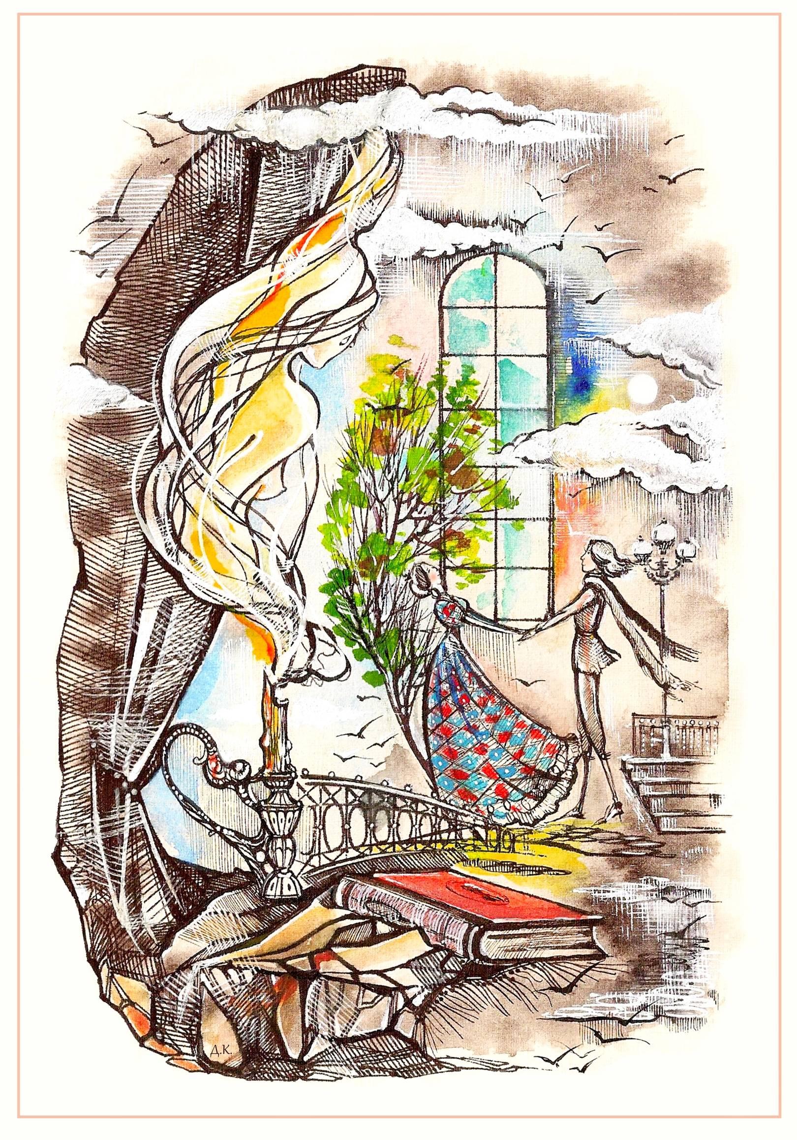 """""""Одинокая свеча"""" Иллюстрация к стихотворению С.Мирзаева. акварель, тушь"""
