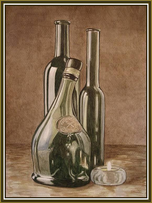 Зеленые бутылки (акварель) 30х40