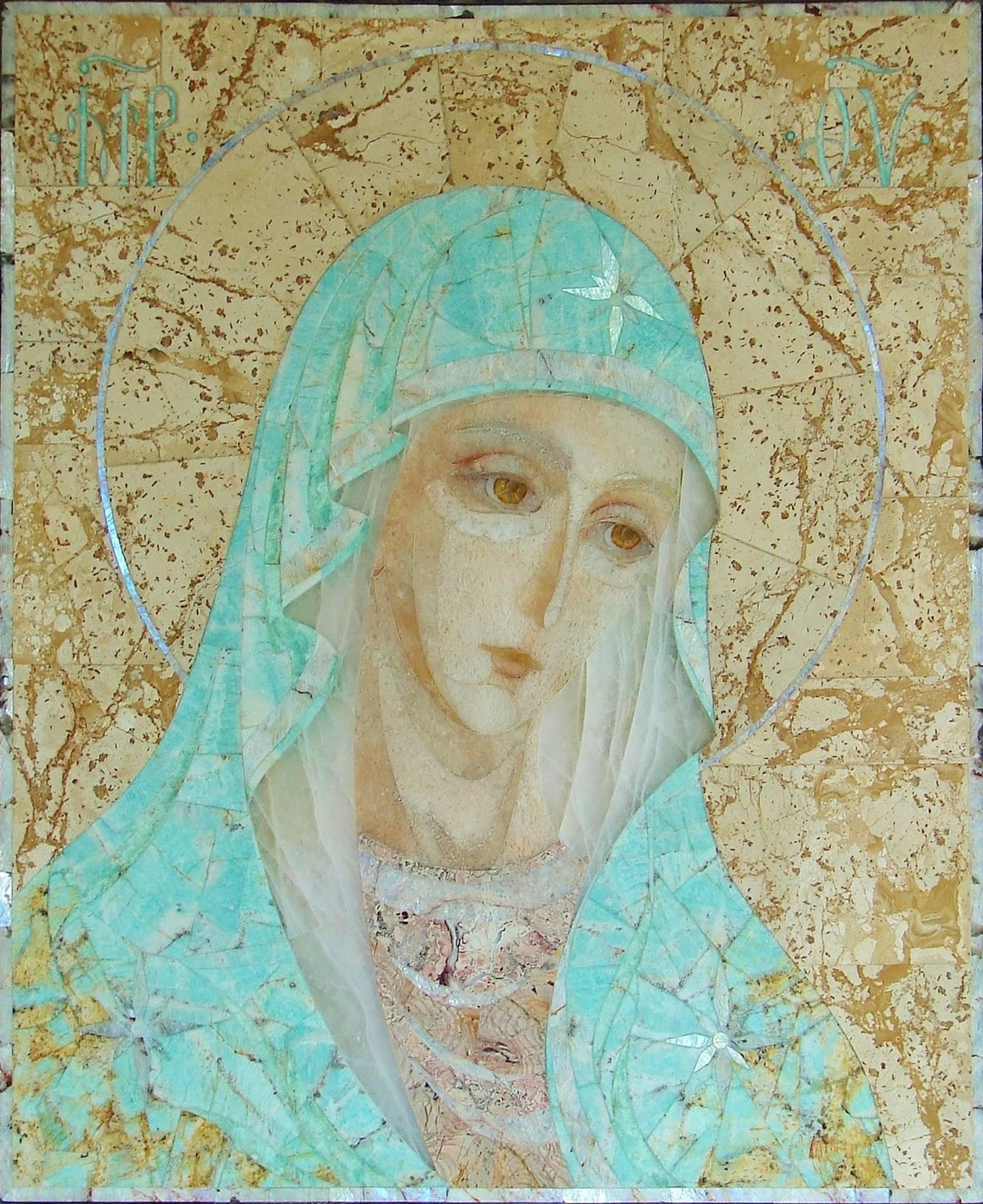 """""""Богоматерь Умиление"""" флорентийская мозаика :амазонит голубой, яшма, беломорит (лунный камень), розовый кварц, кварцит, сердолик, нефрит медовый, хризопраз, мрамор."""