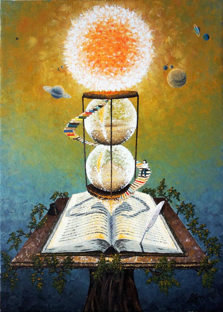 Книга - знание, 50х70 см., масло, холст, 2015