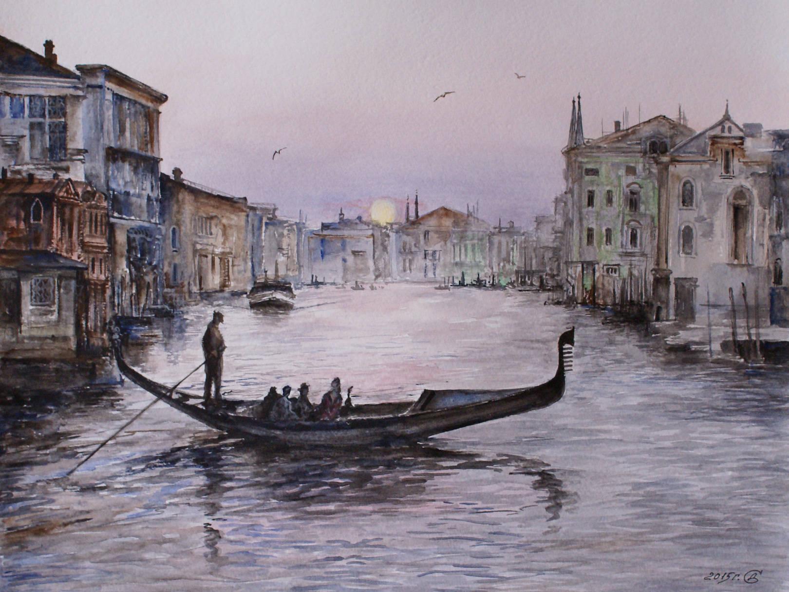 """""""Венецианский вечер"""" - бум./акв., 30х40"""