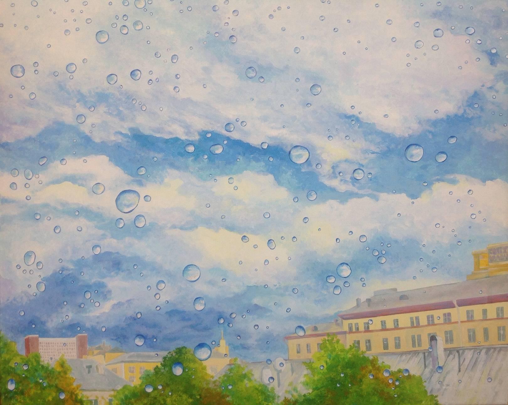 Высыхающие капли после дождя, холст, акрил