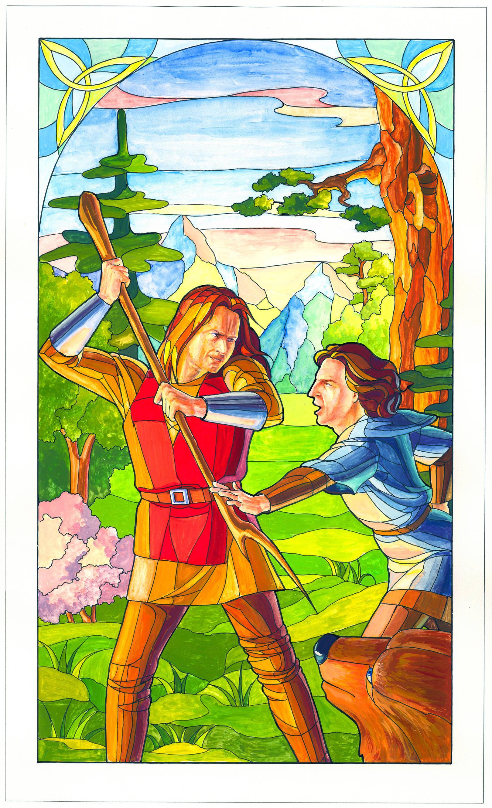 """Иллюстрация к детской книге """"Швейцарские сказки"""", которая вышла в апреле 2015 г и была представлена на Книжном Арсенале, Киев. Заказчик хотел видеть иллюстрации в стиле витража. Буквицы, шрифт и орнаменты также авторские, мои. Действие книги происходит в Средние Века."""
