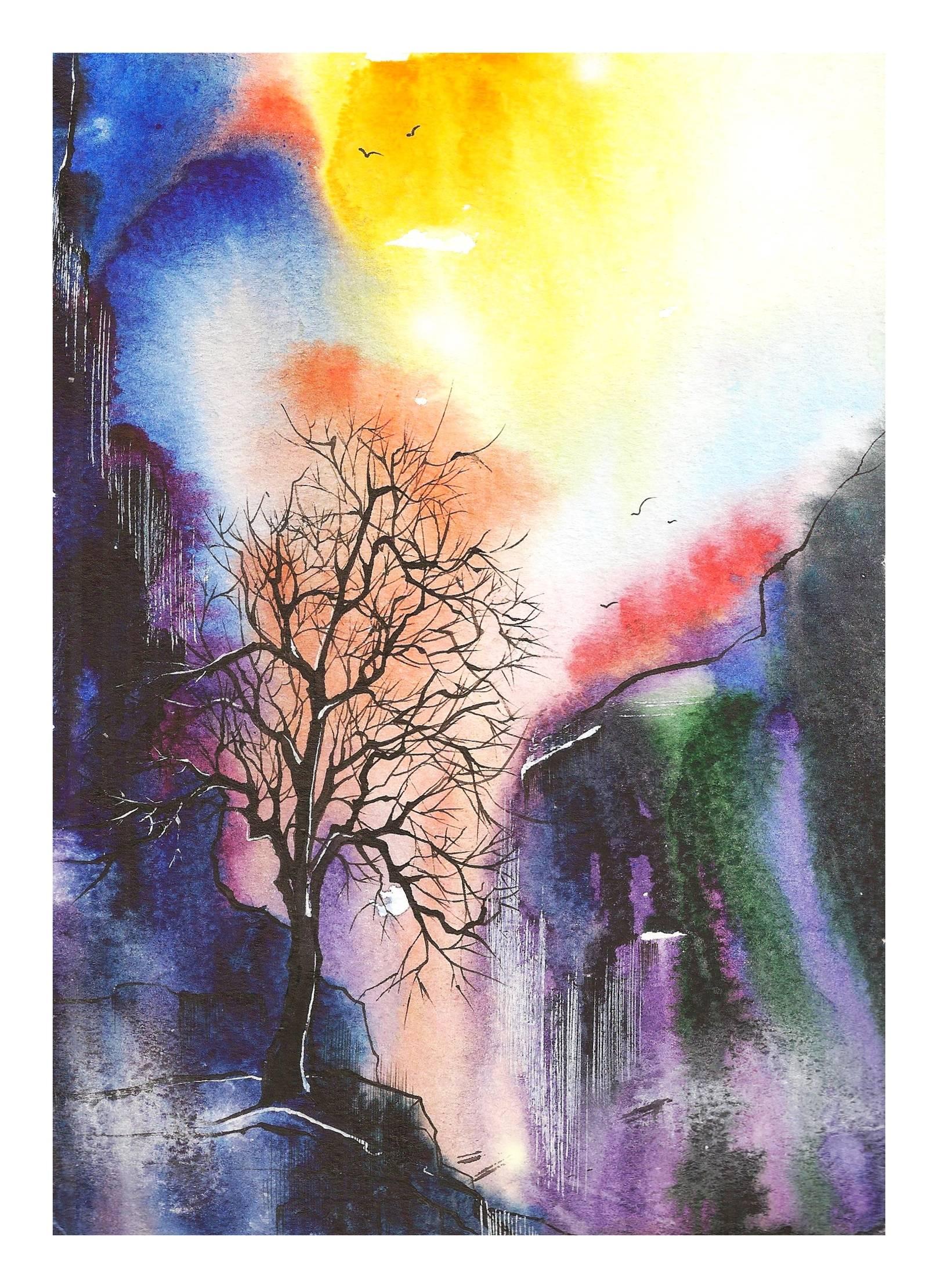 Водопад. Иллюстрация к стихотворению С.Мирзаева. Акварель, тушь.