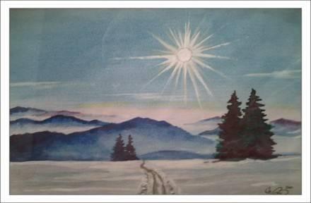 Зимнее солнце. А5.(акварель)