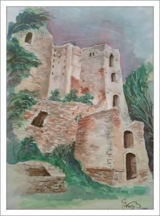 Австрия.Руины старого замка. А3.(акварель)