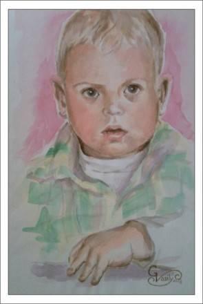Портрет мальчика А4.бумага.(акварель)