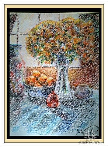 Натюрморт на столе, 30х40 (пастель масляная)