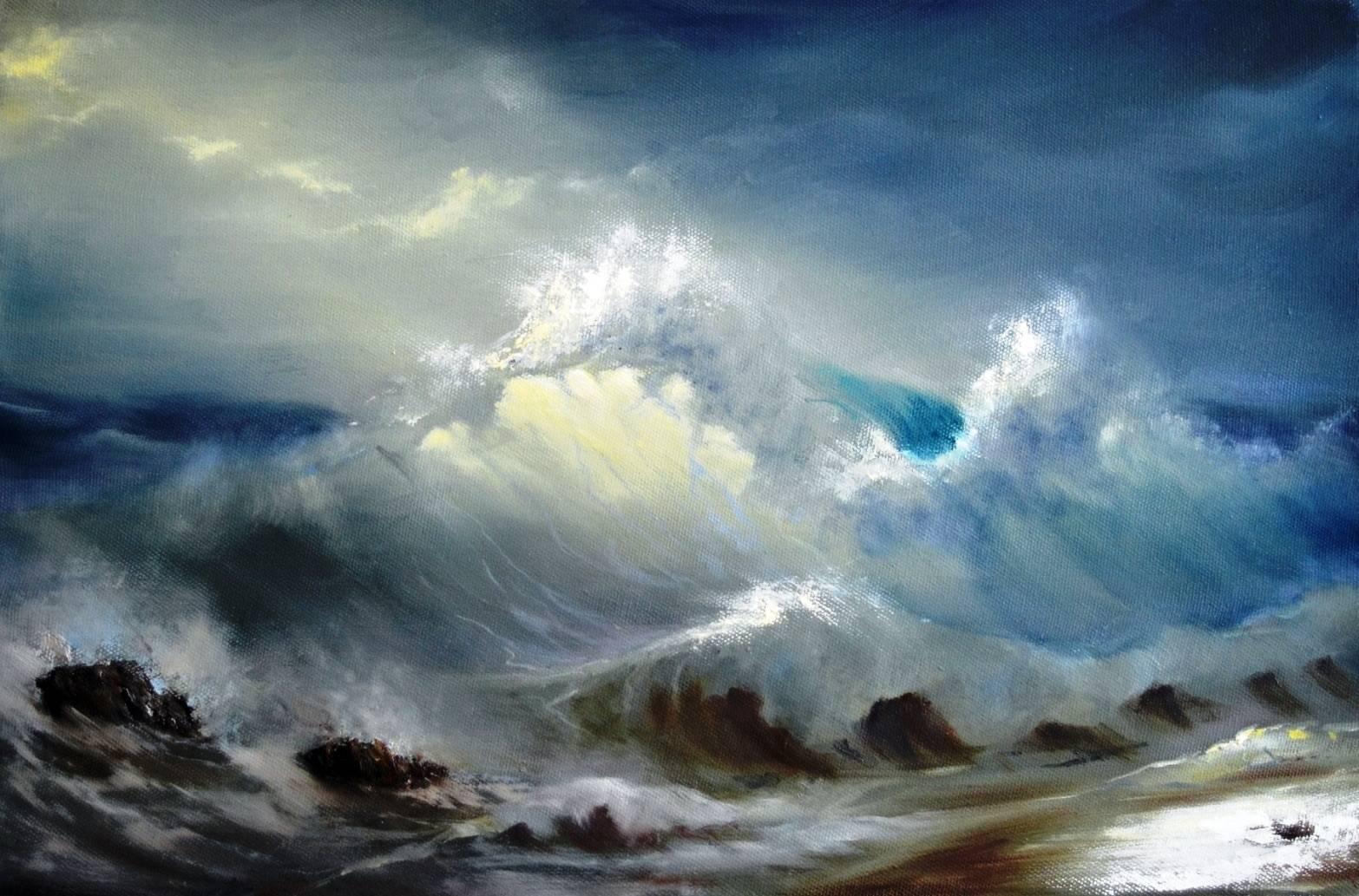 "Бушующая волна"" холст масло, 40х60"