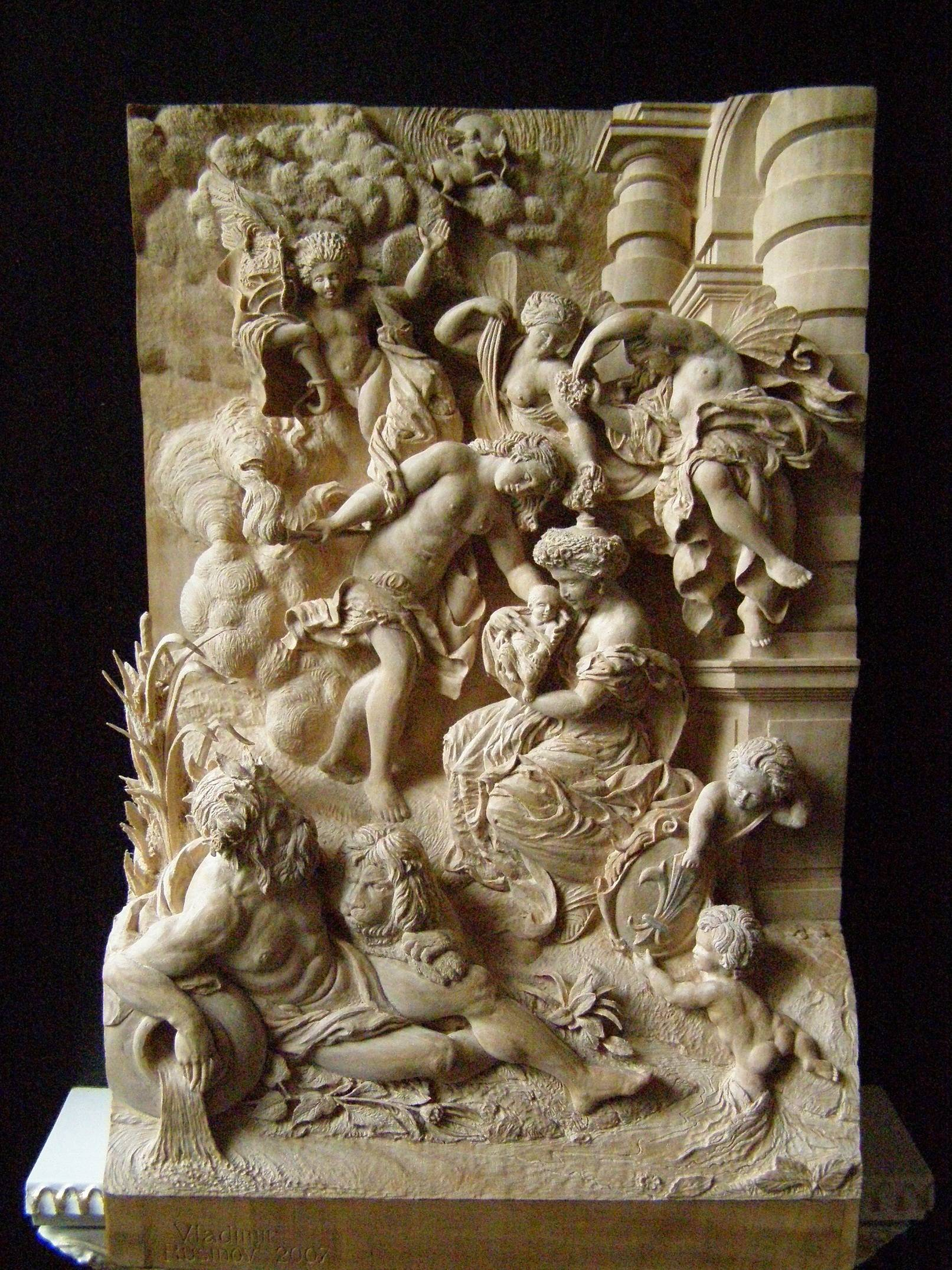 """name :  """"Birth of Queen"""", by P.P. Rubens   wood :  pear-tree    dimensions :  24 cm x 17 cm x 8.5 cm"""