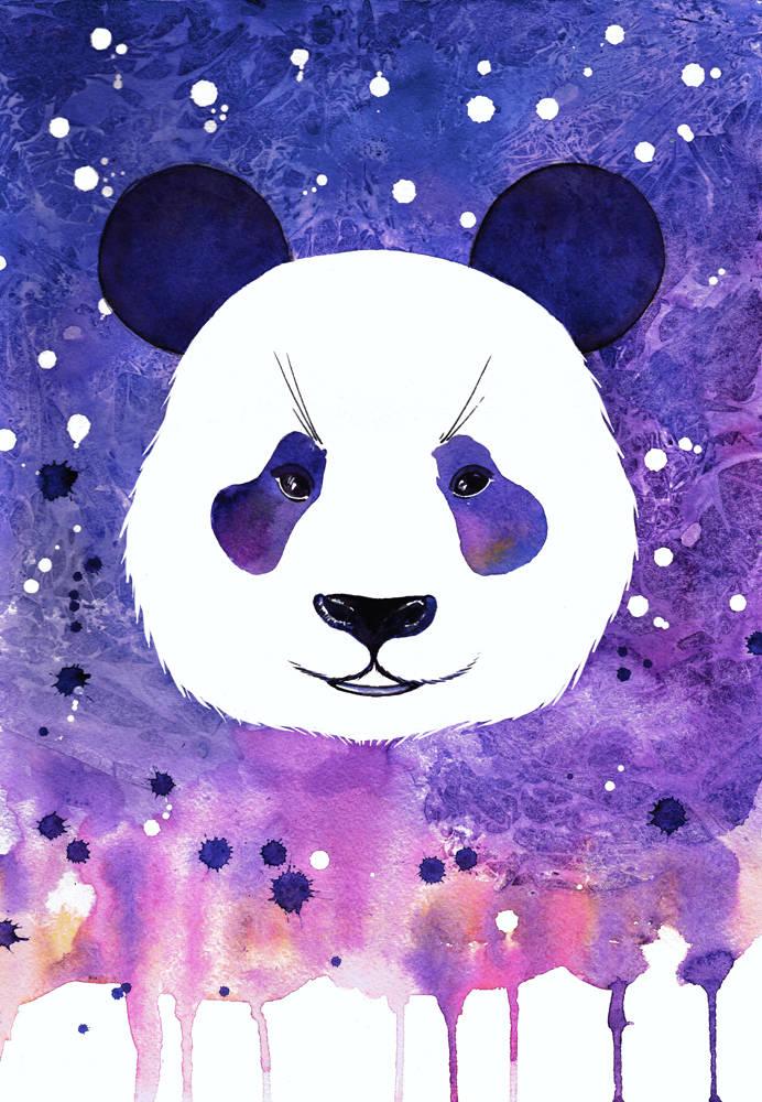 Panda. Watercolor. А3