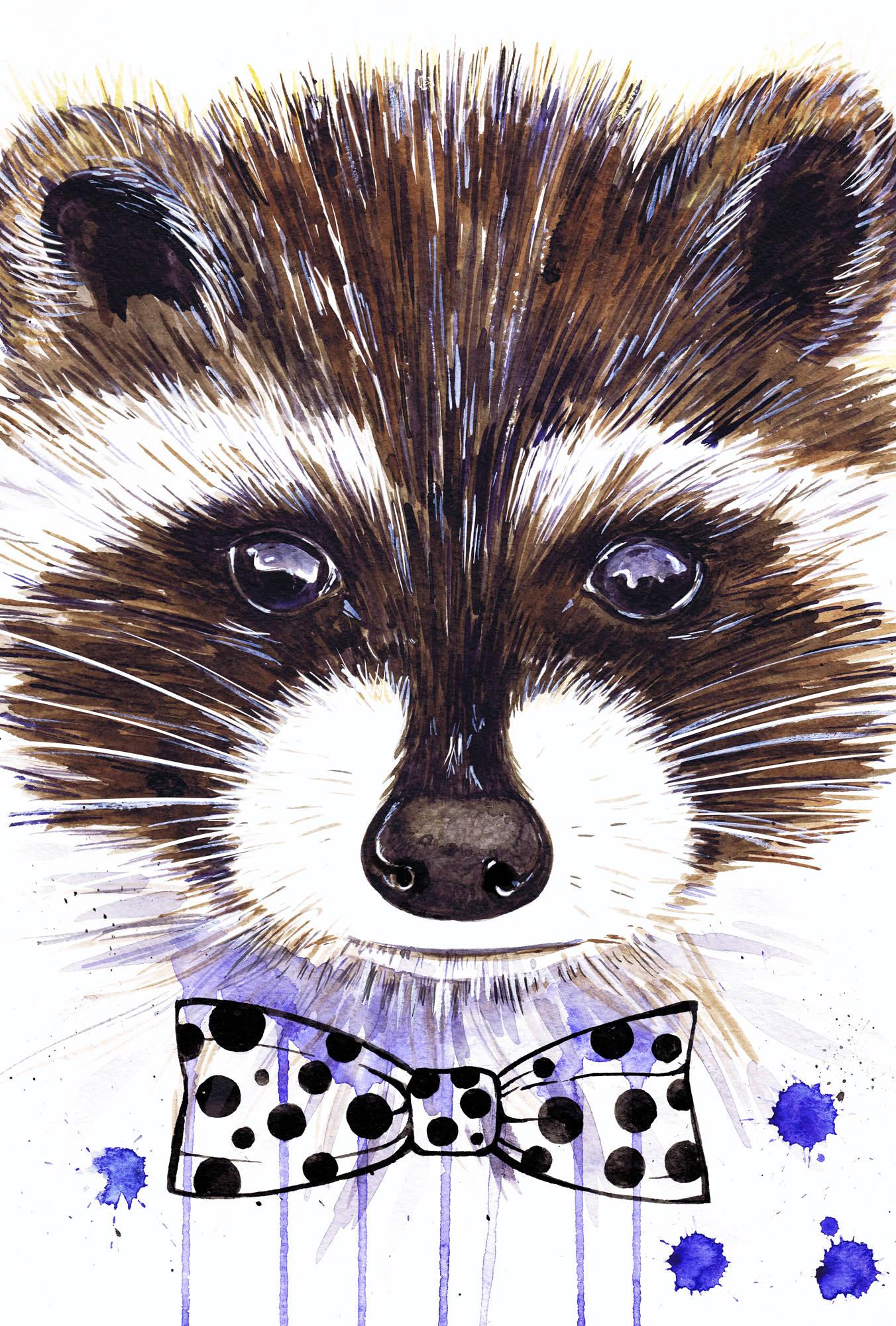 Raccoon. Watercolor A4