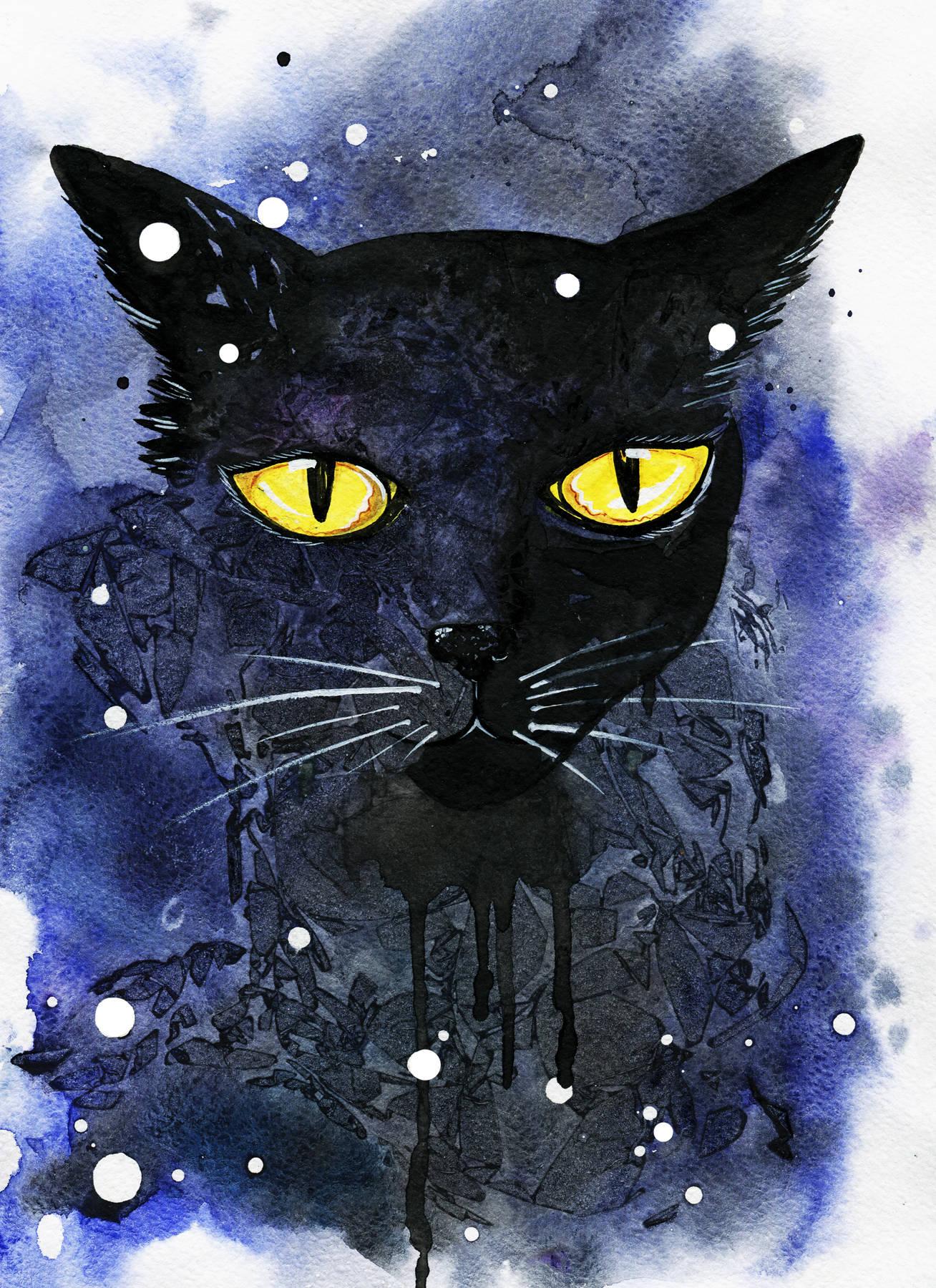 Black cat. Watercolor A4