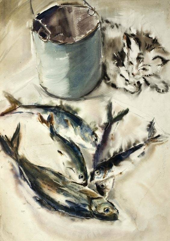 Alexander Sheltunov. Cat's Joy 猫喜悦 1981 Paper, watercolour 水彩纸 58 × 41 cm