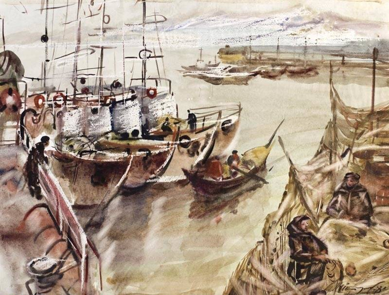 Alexander Sheltunov. At Berth 在码头 1984 Paper, watercolour 水彩纸 47 × 62 cm