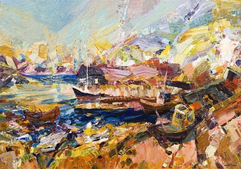 Alexander Sheltunov. Fisherman's Morning 渔民早晨 2006 Oil on canvas 油画底布 81 × 116 cm