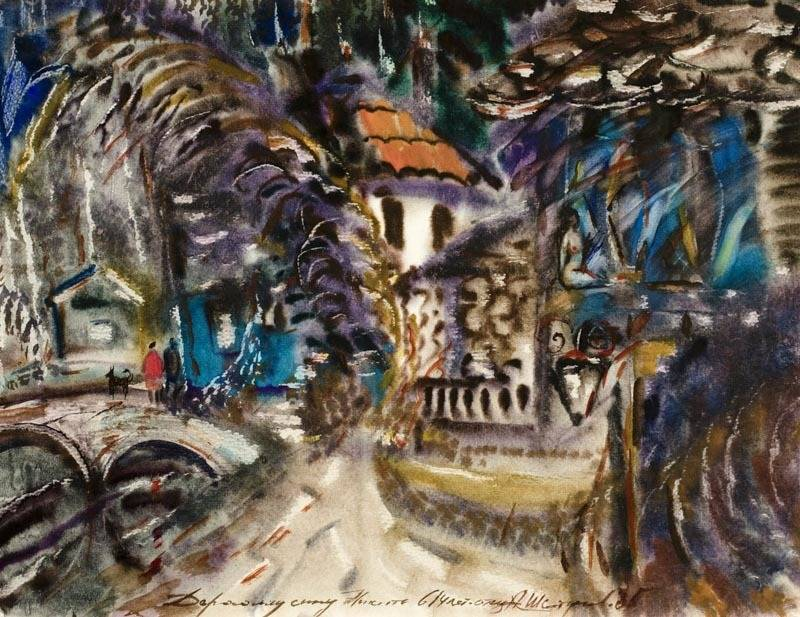 Alexander Sheltunov. Night Motif 晚上 1985 Paper, watercolour 水彩纸 54 × 70 cm