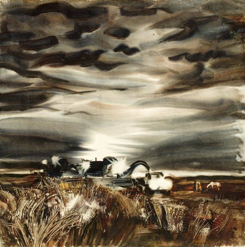 Alexander Sheltunov. Night Reaping 夜里收割 1979. Paper, watercolour 水彩纸 63 × 62 cm