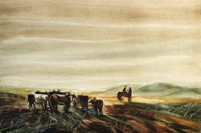 Alexander Sheltunov. Steppe Road 草原路 1981 Paper, watercolour 水彩纸 46 × 70 cm