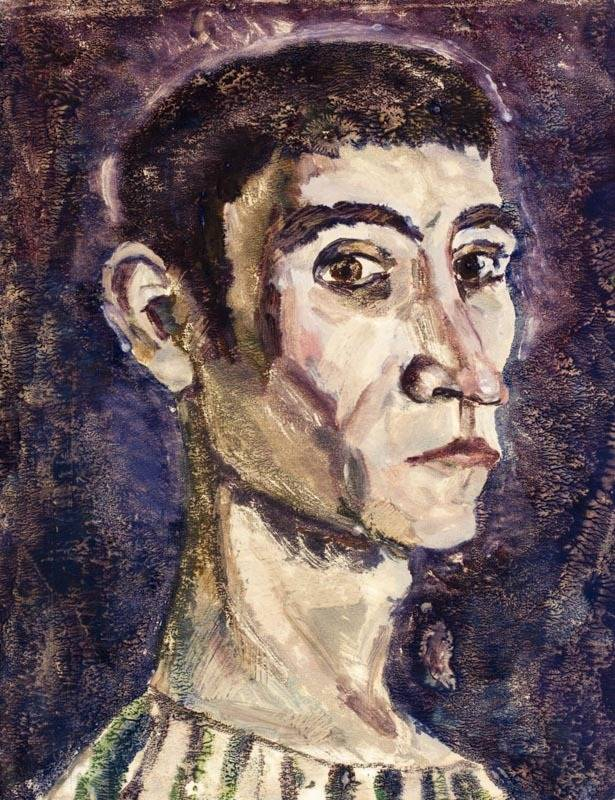 Alexander Sheltunov. Self-Portrait 自画像 1974 Paper, monotypy. 39 × 30 cm