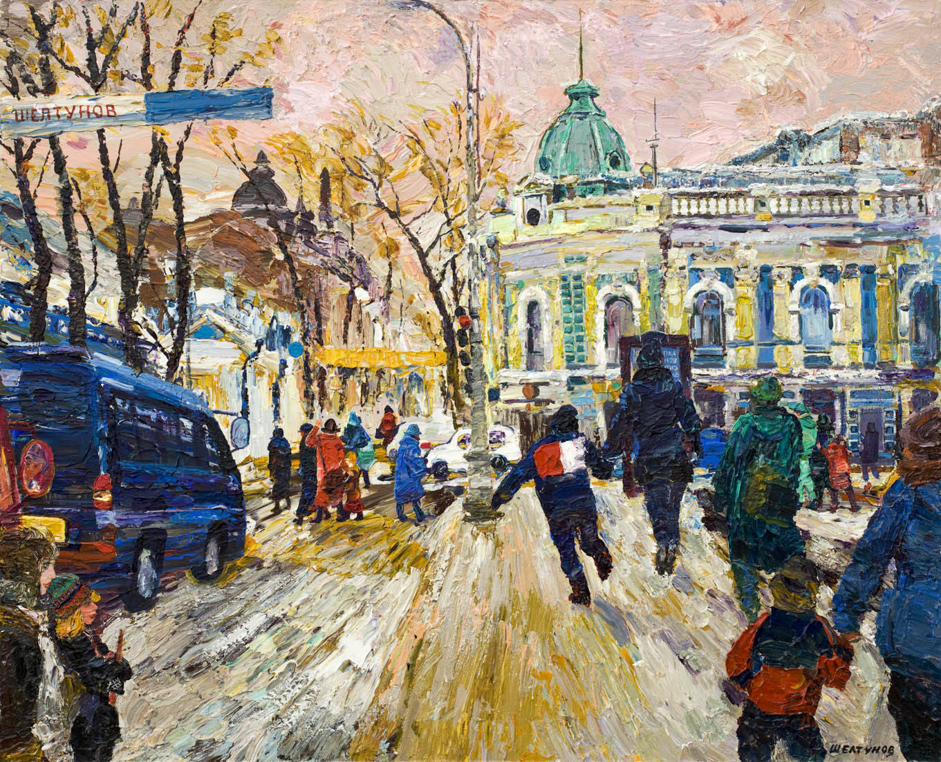 Alexander Sheltunov. The Downtown 市中心 2006 Oil on canvas 油画底布 81 × 100