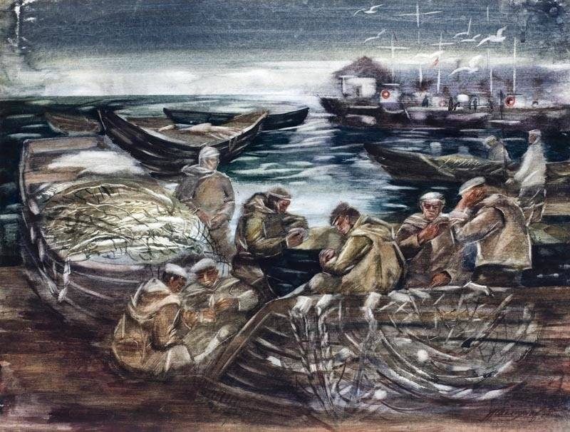 Alexander Sheltunov. The Baikal Fishermen 贝加尔湖渔民 1984 Paper, watercolour 水彩纸 56 × 74 cm